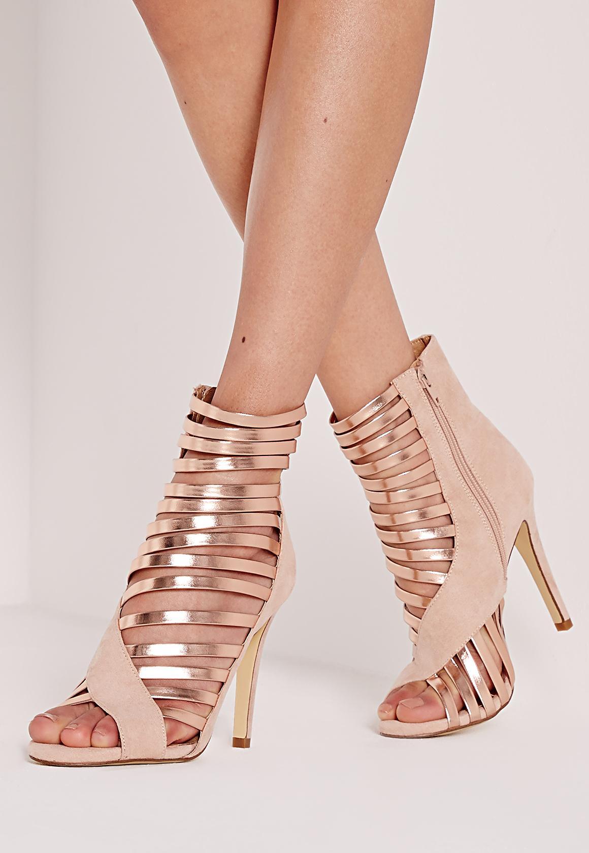 e643d89ff63c5c Asymmetric Strappy Heeled Sandals Gold