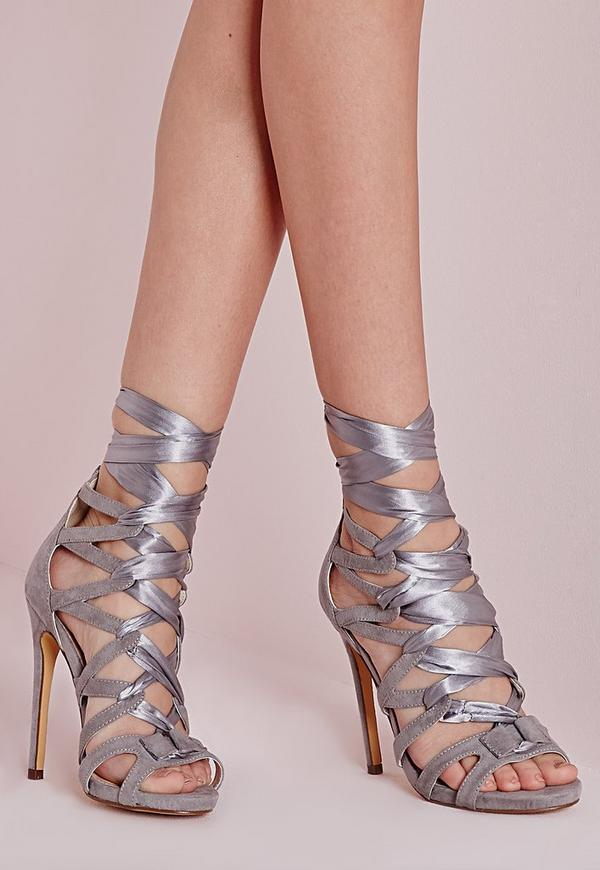 Fabric Lace Up Geometric Heeled Sandals Grey