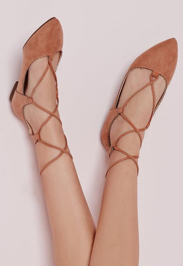 Scallop Edge Lace Up Flats Pink