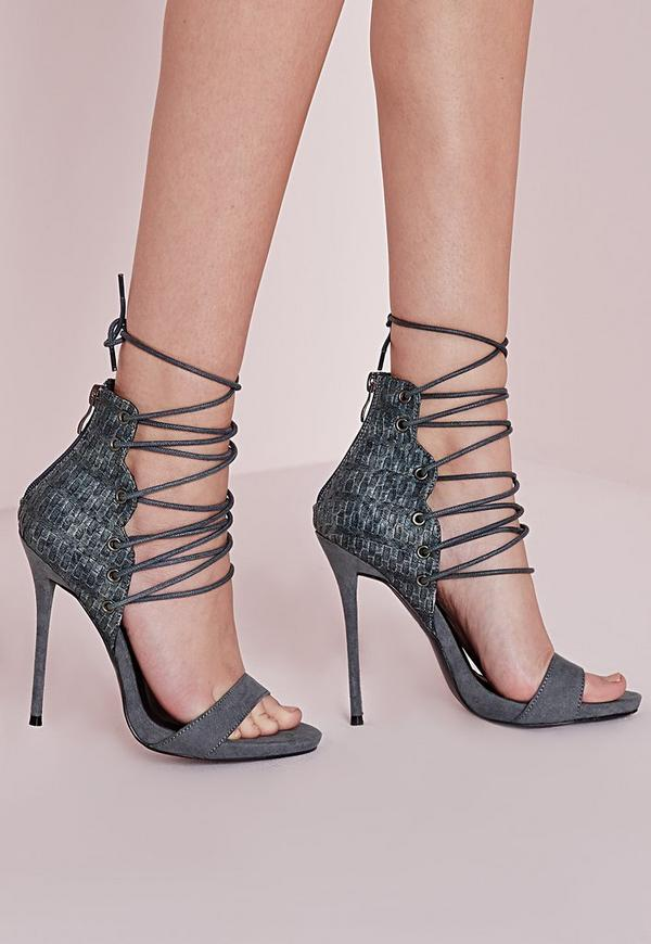 Woven Detail Barely There Heeled Sandals Grey