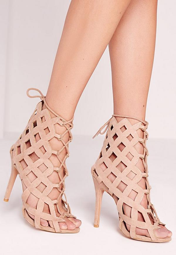 Laser Cut Lace Up Gladiator Heels Nude