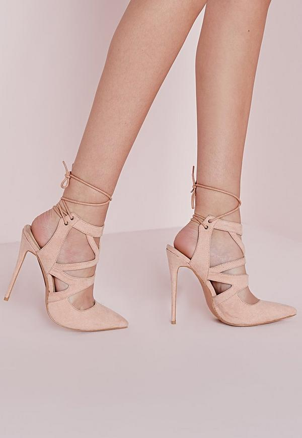 Tie Back Cut Out Court Shoes Nude