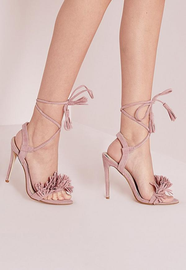 Tassel Detail Barely There Heeled Sandals Pink