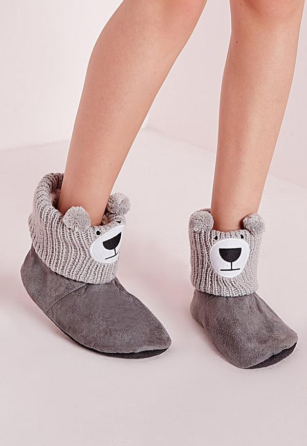 Teddy Slipper Boots Grey