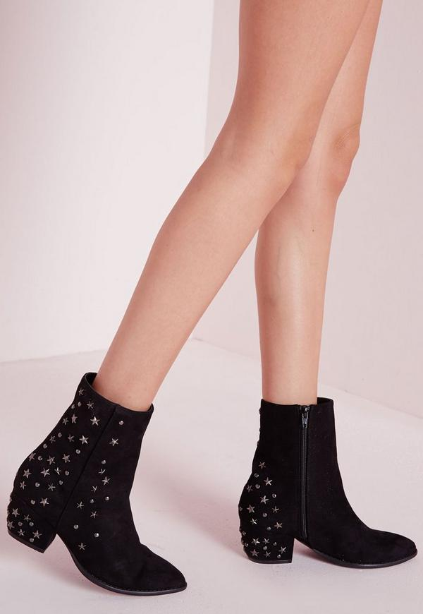 Pointed Toe Star Detail Ankle Boots Black