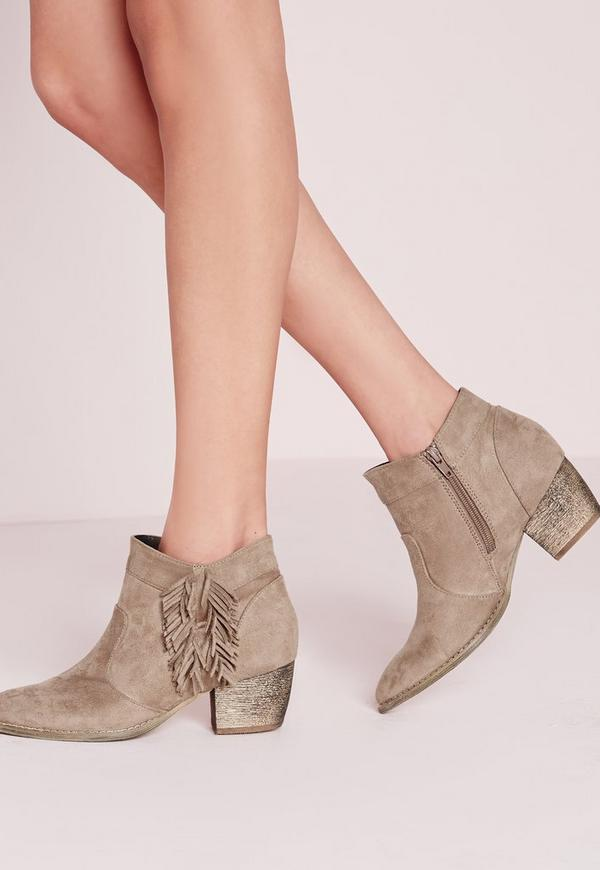 Side Tassel Stitch Western Ankle Boots Nude