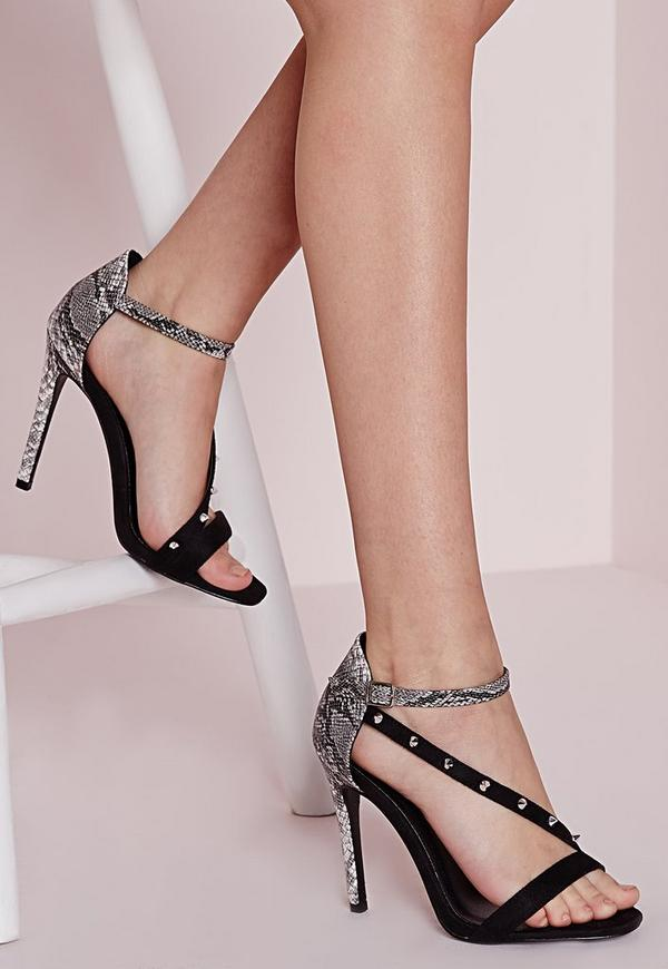 Studded Strap Barely There Heeled Sandals Black