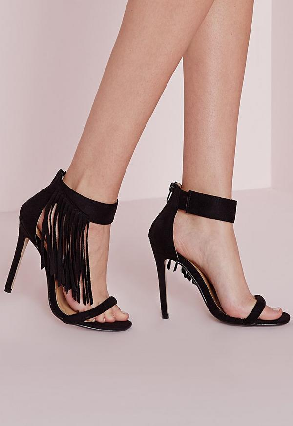 Asymmetric Tassel Ankle Strap Heeled Sandals Black