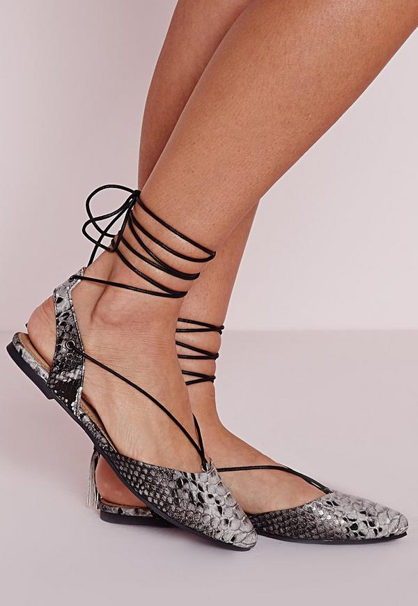 Lace Up Sling Back Flat Shoes Snake