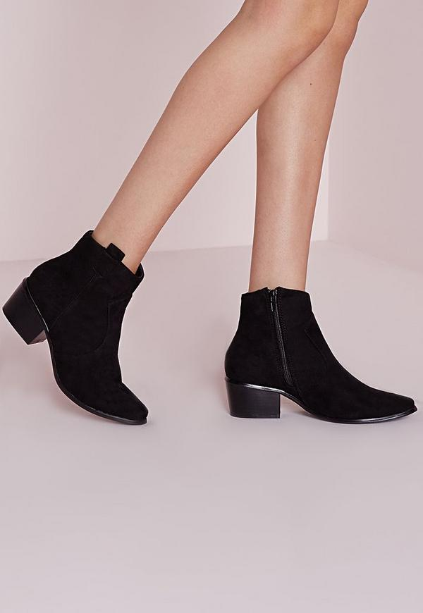 Western Pointed Toe Ankle Boots Black