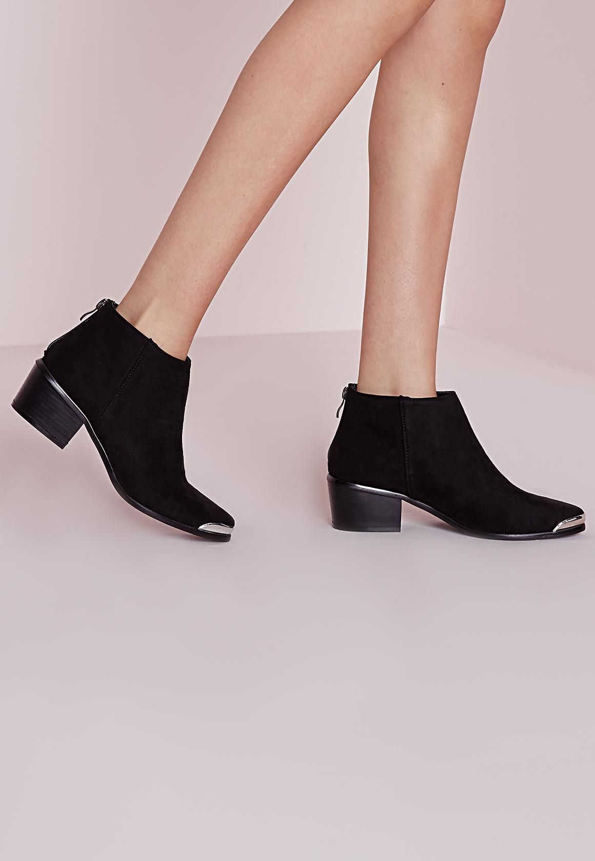bottines plates noires style western bout pointu métal | missguided