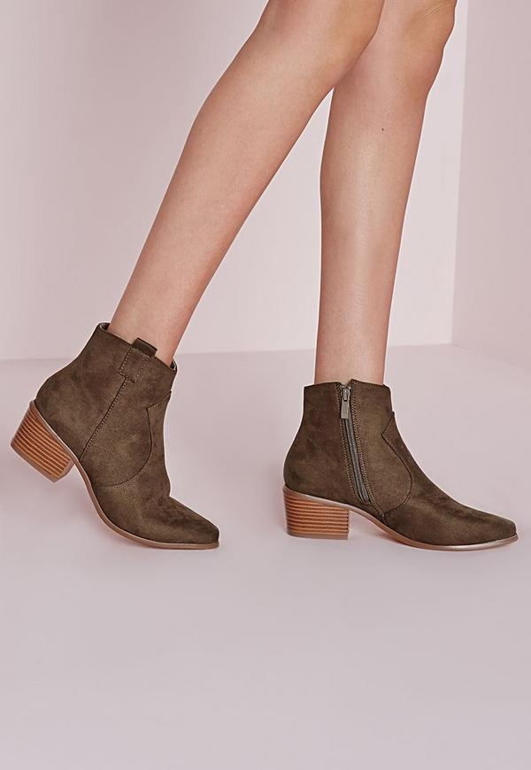 Western Pointed Toe Ankle Boots Taupe