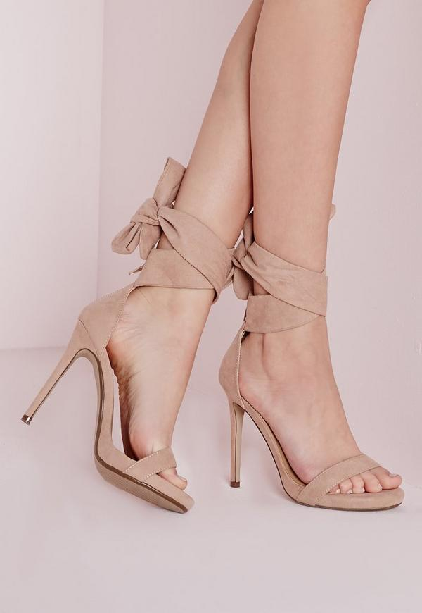 Ankle Tie Heeled Sandals Nude