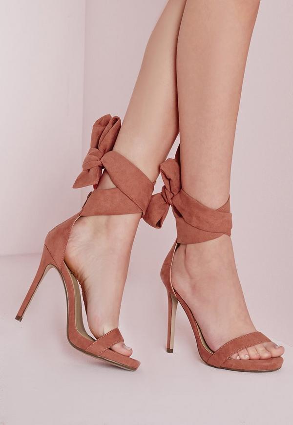 Ankle Tie Heeled Sandals Pink