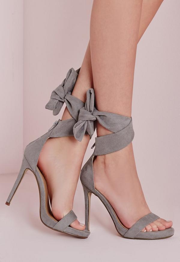 Ankle Tie Heeled Sandals Grey