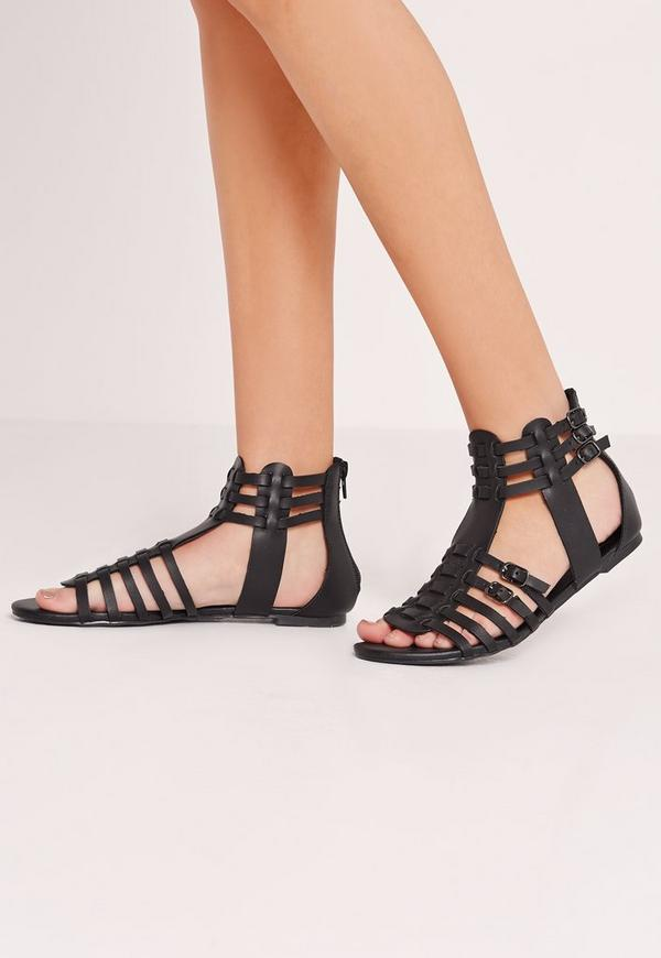 Strappy Flat Gladiator Sandals Black