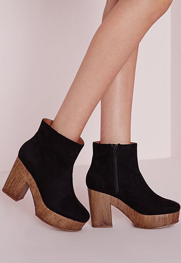 Platform Heeled Ankle Boots Black