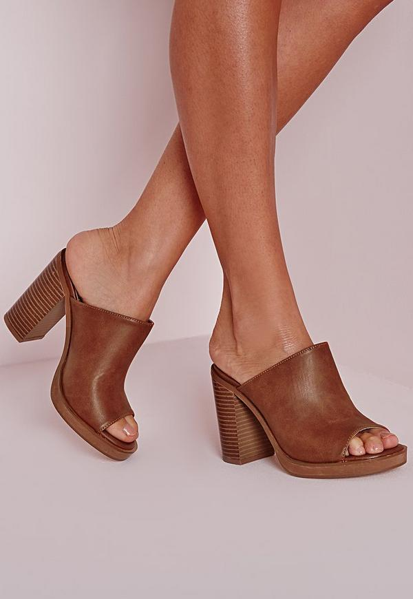 Peep Toe Block Heel Mules Tan
