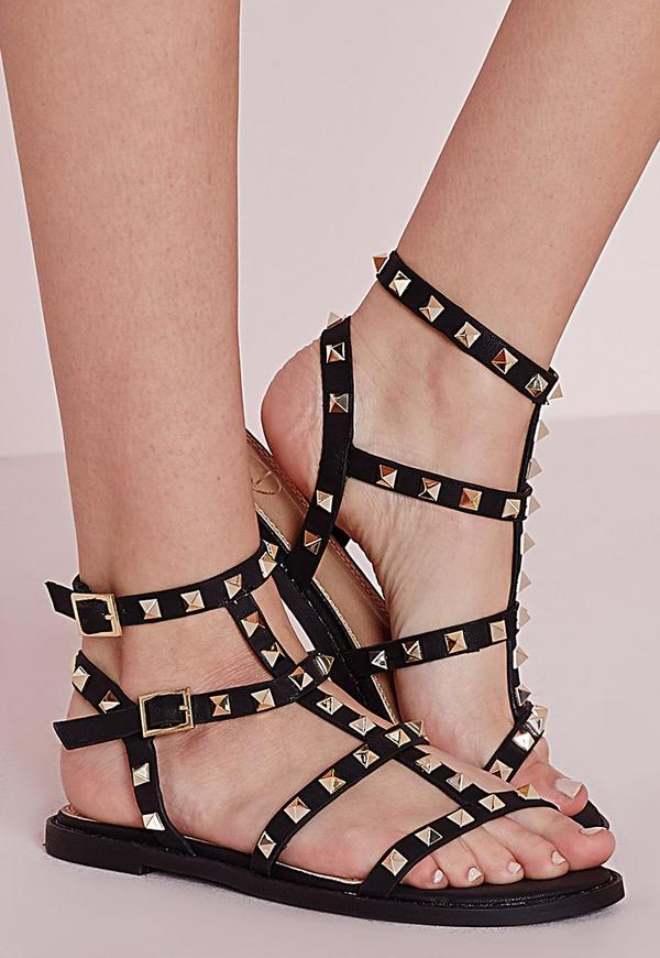 Studded Flat Gladiator Sandals Black