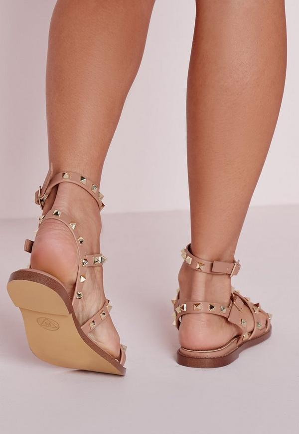 Studded Flat Gladiator Sandals Blush | Missguided