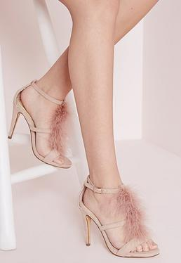 Feather Trim Heeled Sandals Pink