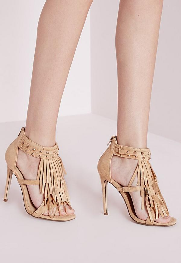 Tassel Front Heeled Sandals Nude