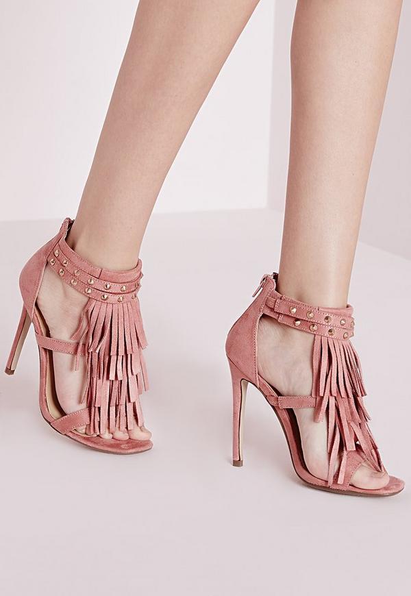 Tassel Front Heeled Sandals Blush