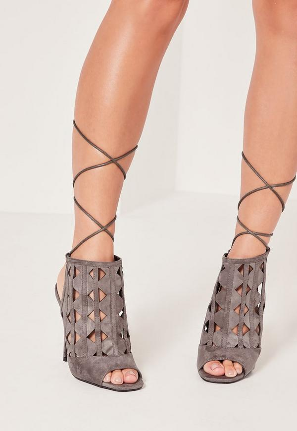 Laser Cut Tie Back Heeled Sandals Grey