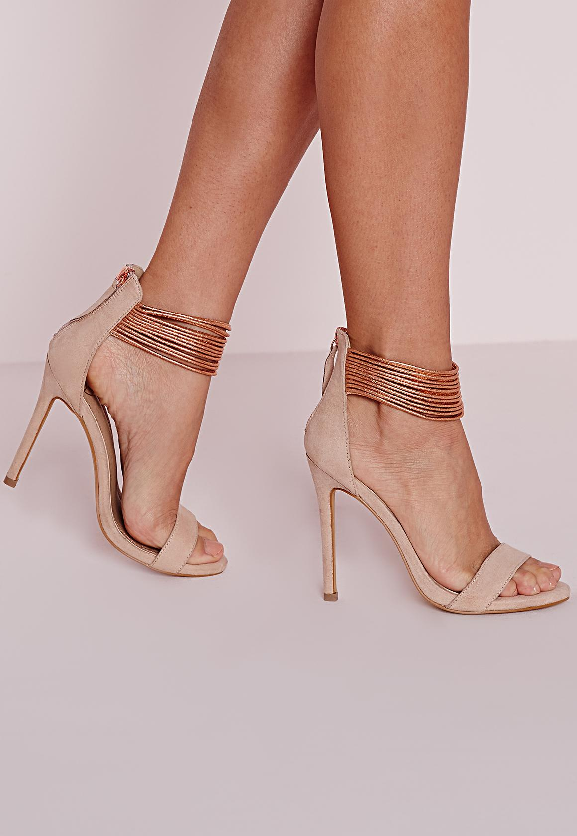 Metallic Ankle Strap Barely There Heels Rose Gold | Missguided