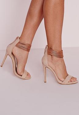 Sandales à talon or rose à brides de cheville métallisées