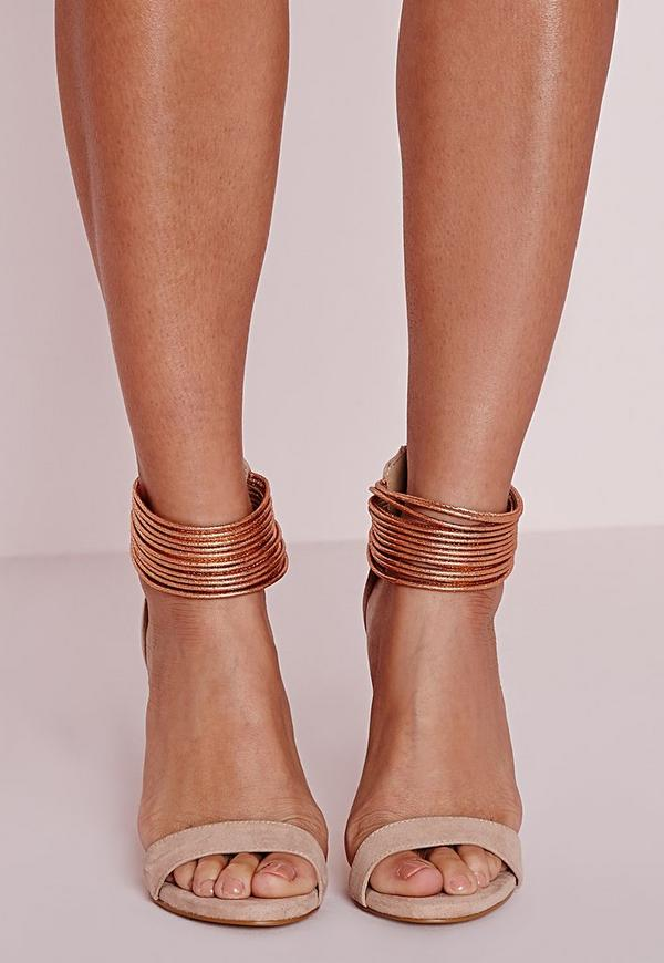 Metallic Ankle Strap Barely There Heels Rose Gold Missguided
