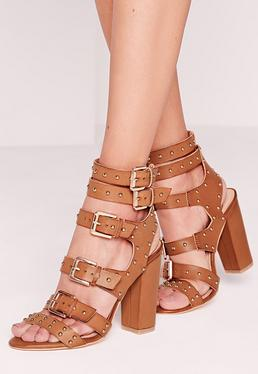 Buckled Block Heel Gladiator Sandals Tan