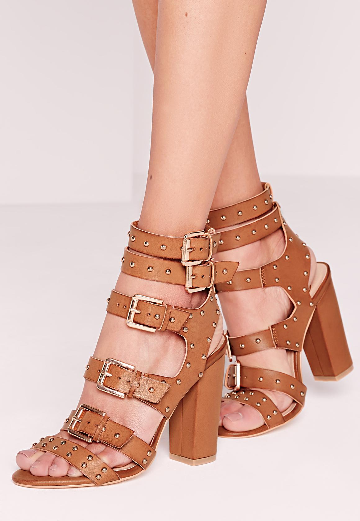 Buckled Block Heel Gladiator Sandals Tan - Missguided
