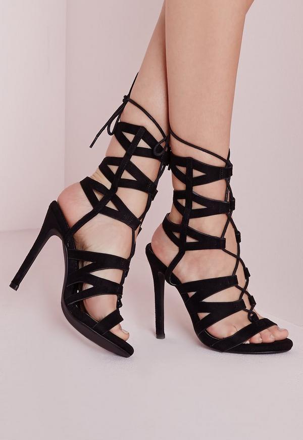 Laser Cut Mid Calf Heeled Sandals Black