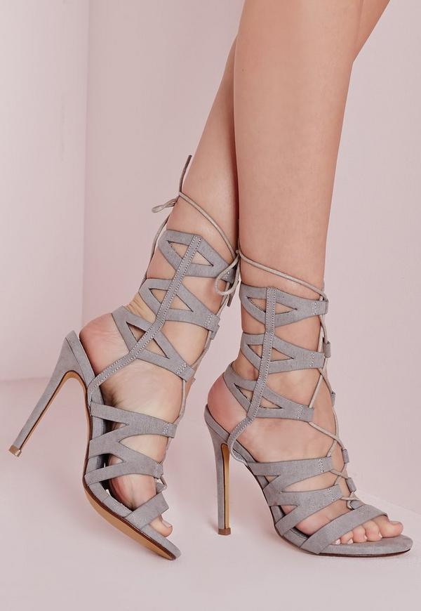 Laser Cut Mid Calf Heeled Sandals Grey