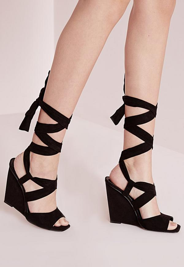 Buy Black Lace-Up Peep-Toe Wedge Heels From seebot.ga will find many fashionable products from Wedge Sandals collections.