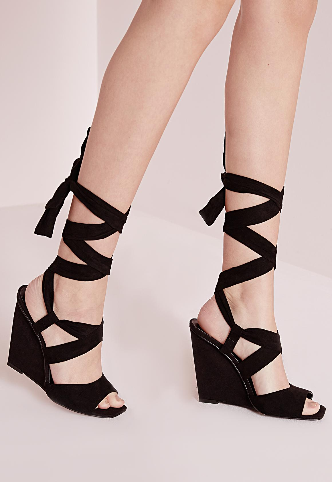 Lace Up Wedge Sandals Black | Missguided