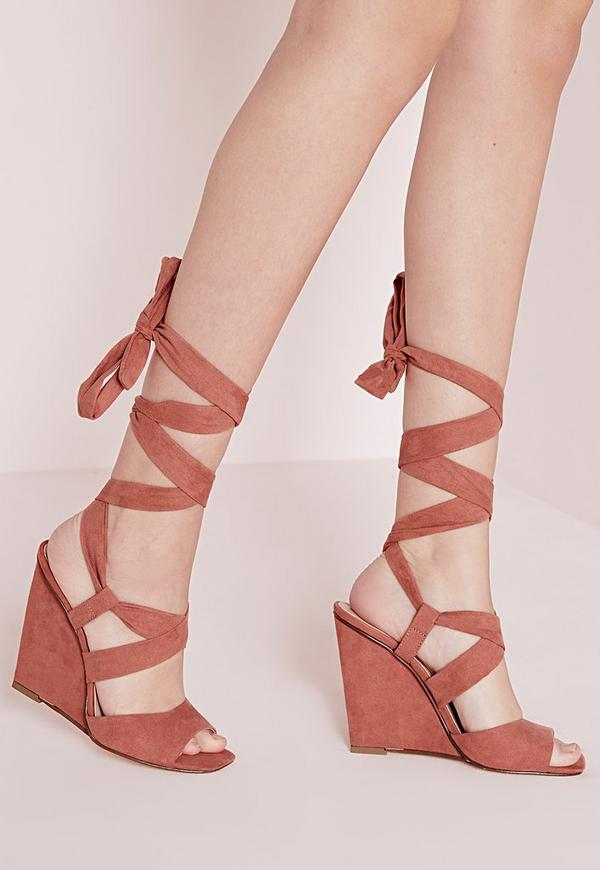Lace Up Wedge Sandals Blush