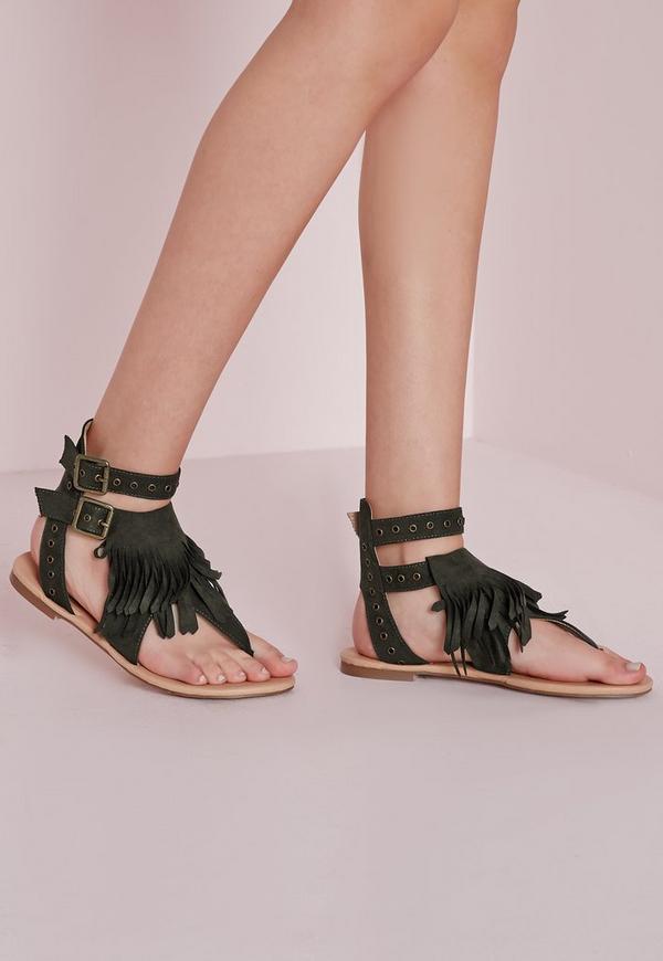 Eyelet Strap Flat Sandals Khaki