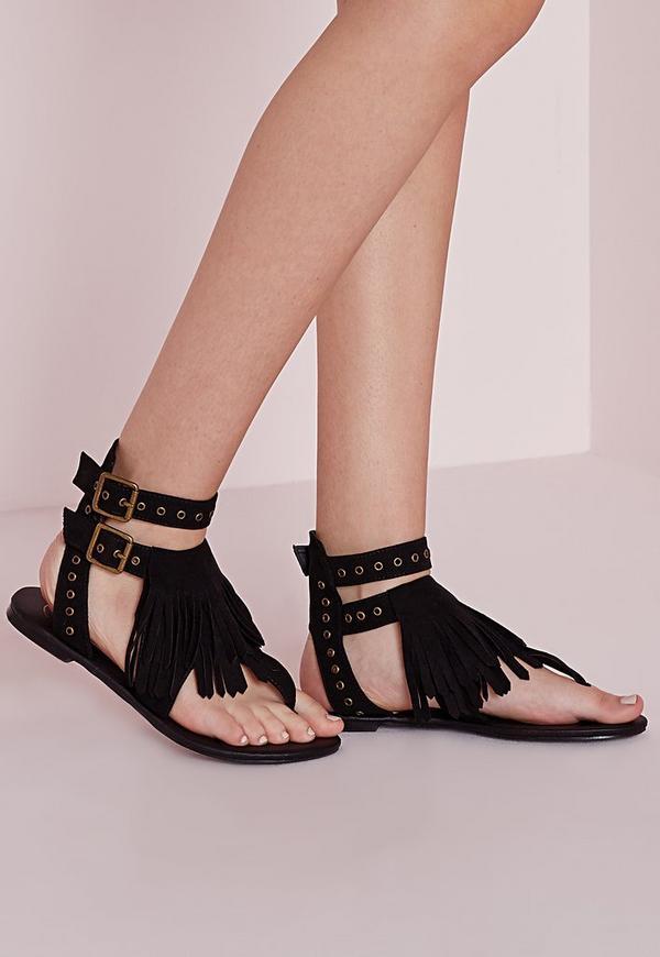 Eyelet Strap Flat Sandals Black