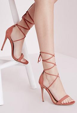 Lace Up Barely There Heeled Sandals Pink