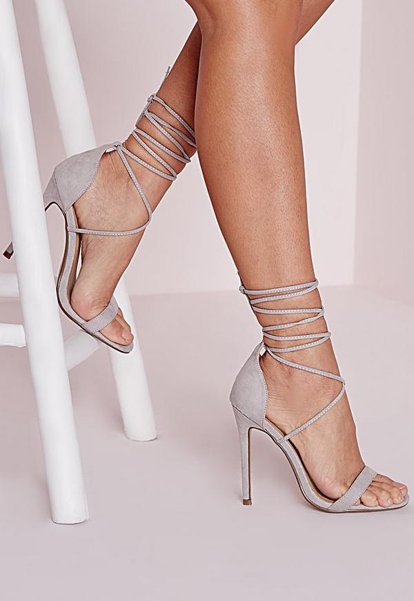 Lace Up Barely There Heeled Sandals Grey