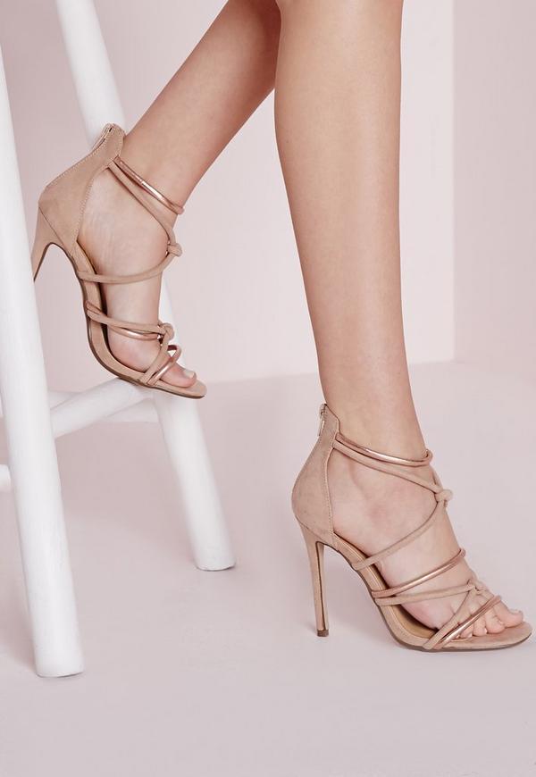 Knot Front Heeled Sandals Rose Gold