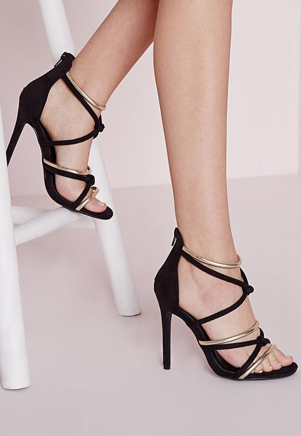 Knot Front Heeled Sandals Black