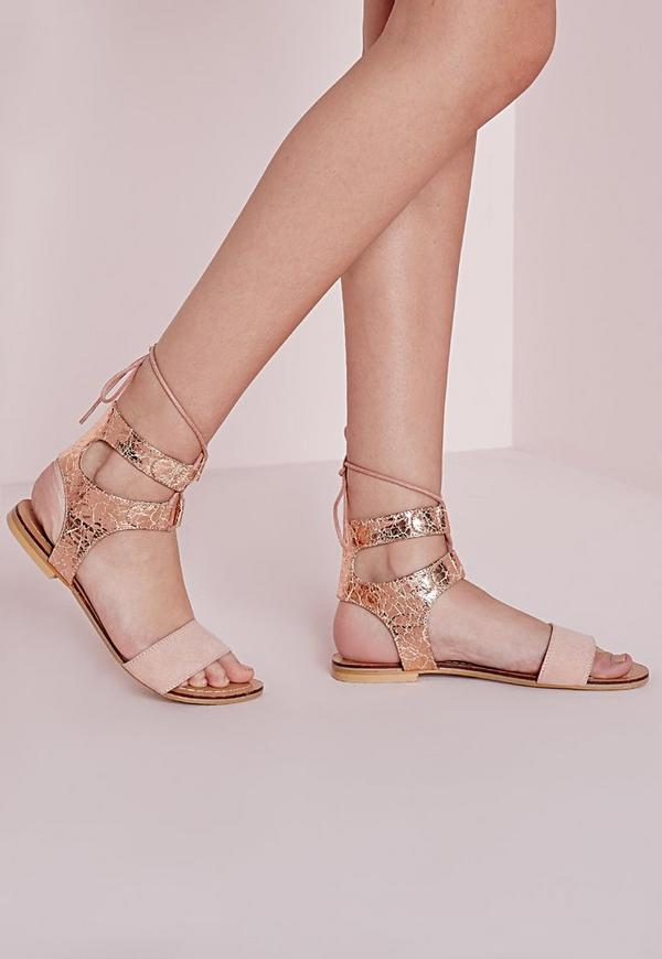 Cracked Metallic Flat Sandals Rose Gold