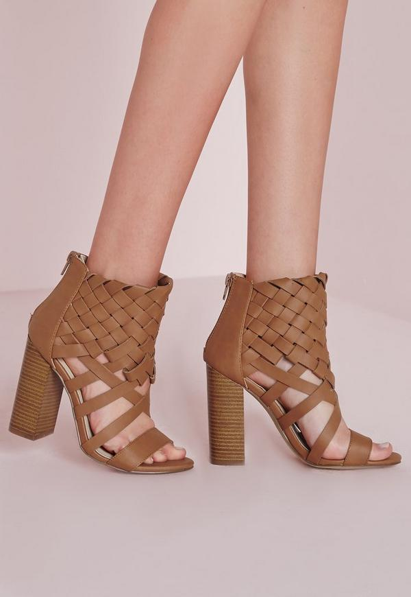 Woven Ankle Cuff Heeled Sandals Tan