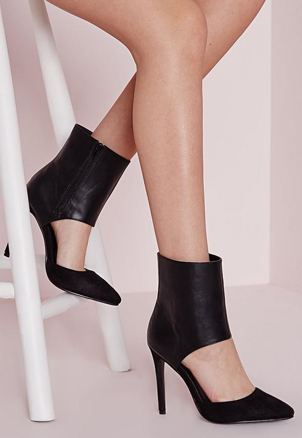Ankle Cuff Pointed Court Shoes Black