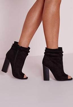 Black Faux Suede Ruched Detail Peep Toe Ankle Boots