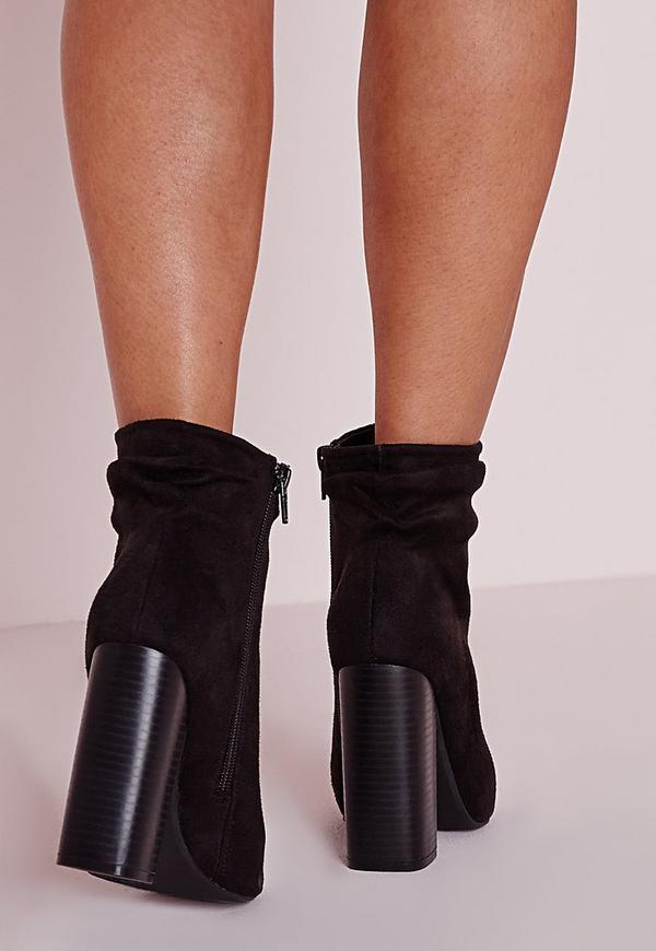 geraffte ankle boots aus faux wildleder mit peeptoe in. Black Bedroom Furniture Sets. Home Design Ideas