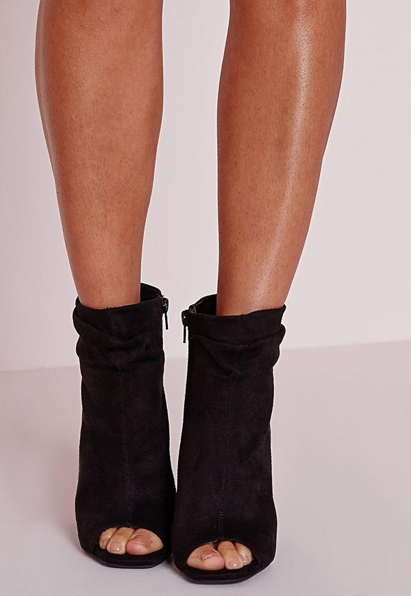 Black Faux Suede Ruched Detail Peep Toe Ankle Boots | Missguided